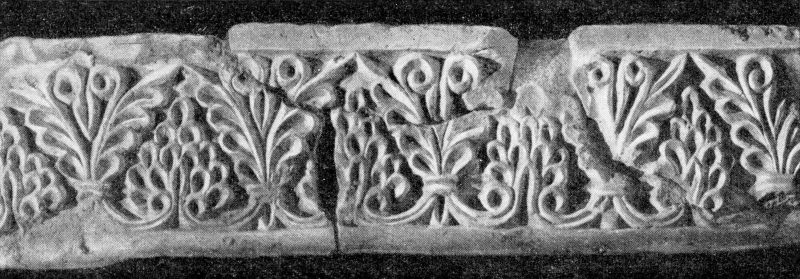 This stucco fragment, featuring a floral scroll, once decorated the large iwan at Varakhsha.