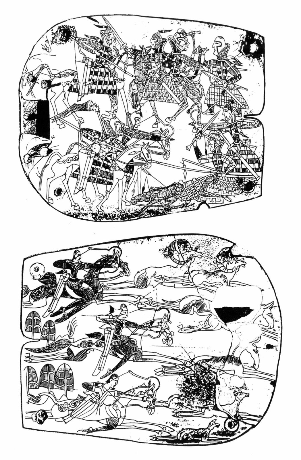 Line drawing of two square belt plaques showing horseback riders engaged in battle