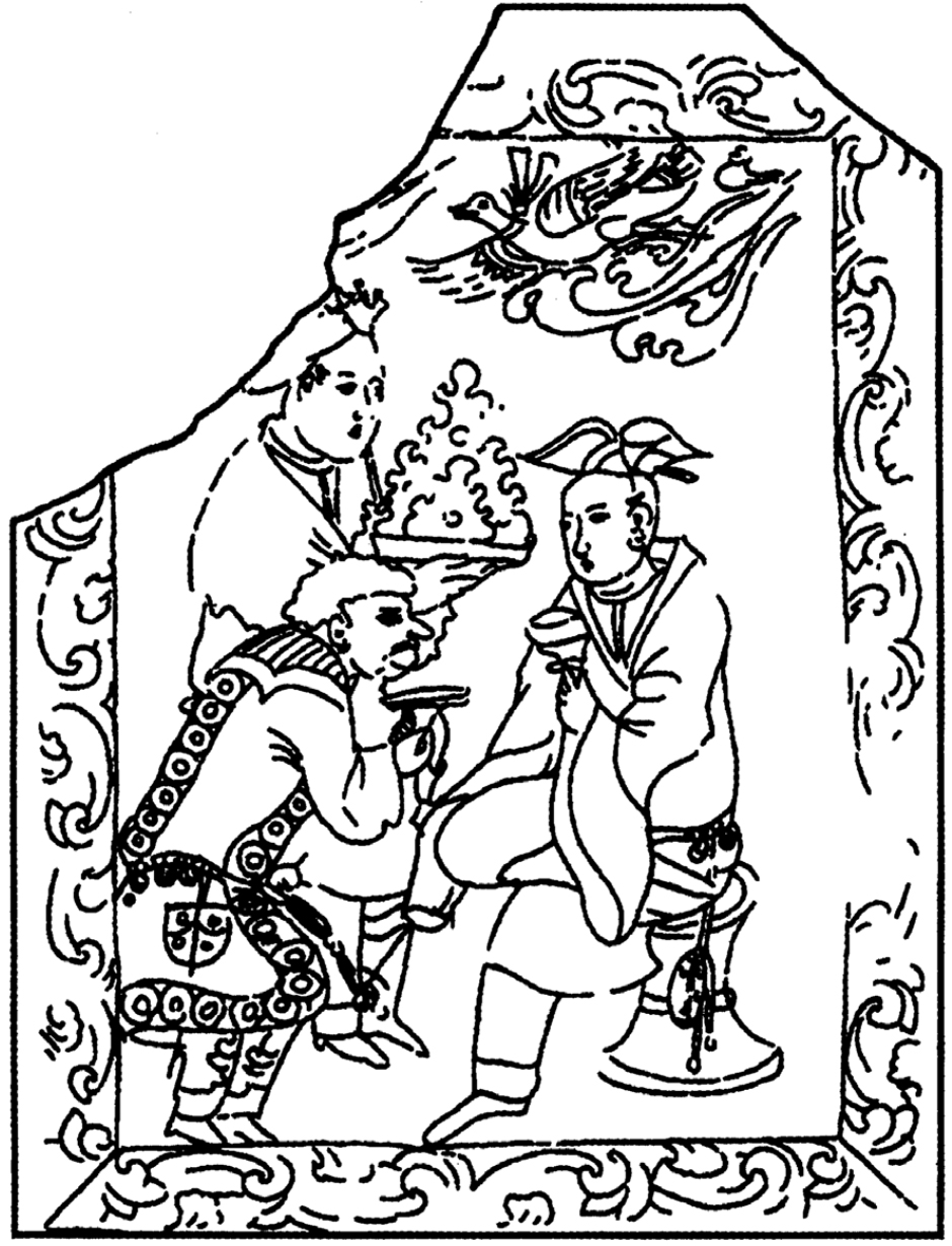 Drawing of sarcophagus panel showing figures at a banquet