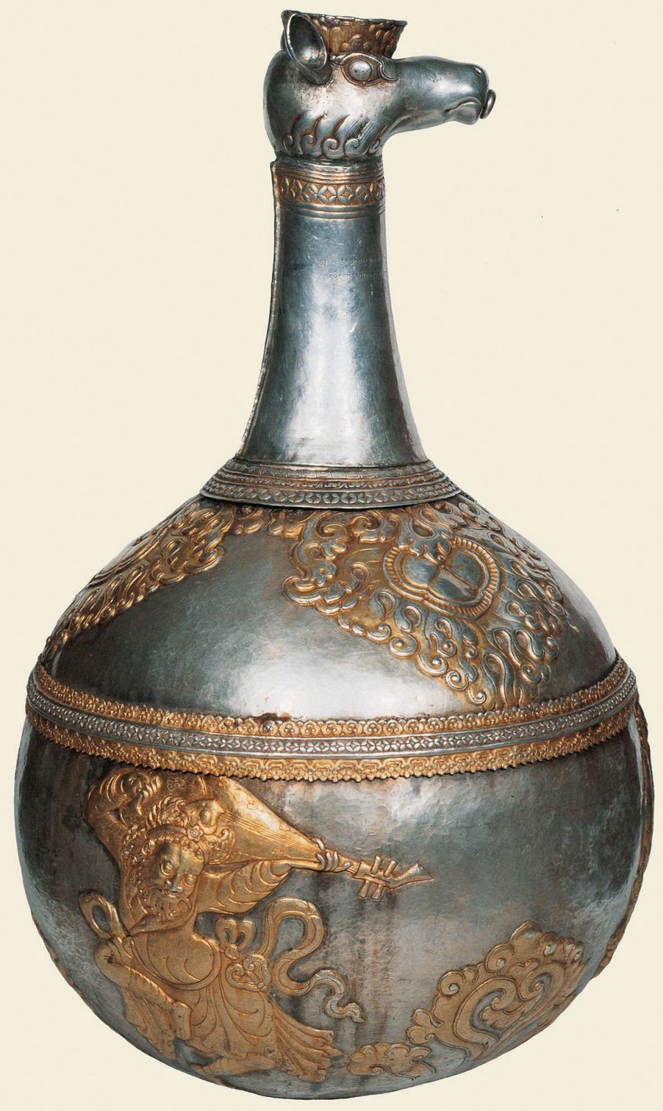 Jug with bulbous base and animal head spout