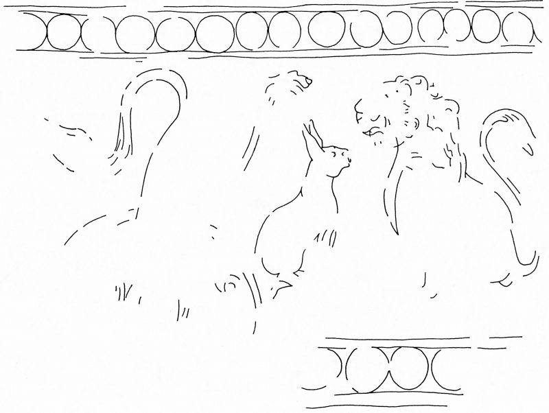 Line drawing showing a lion facing a hare. The scene is in enclosed by a border with repeated circles.