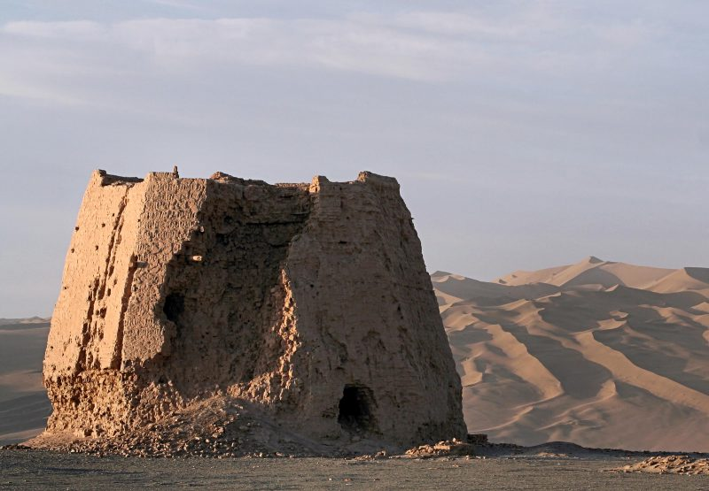 This brick watchtower is now fragmentary, with only the base surviving. Located in the desert near Dunhuang, China, the tower was home to hundreds of texts in Sogdian.