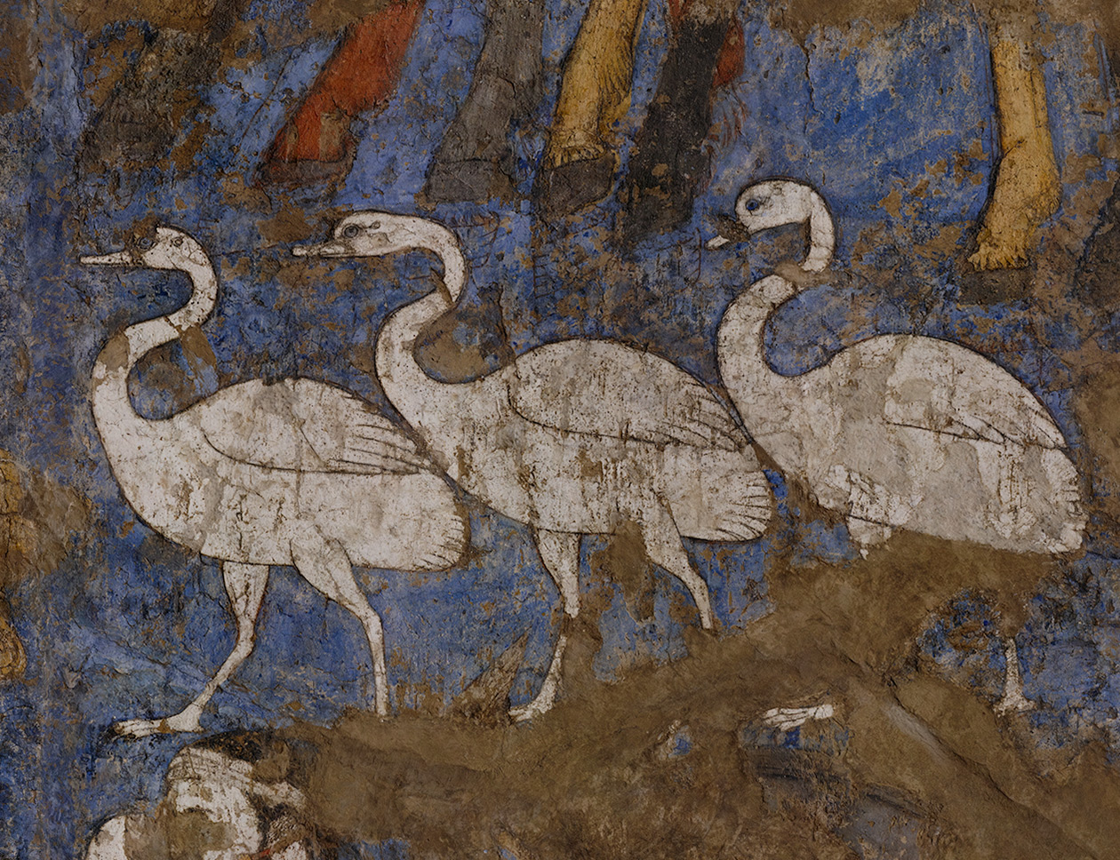 Three geese depicted on the southern wall of the Hall of the Ambassadors in Afrasiab