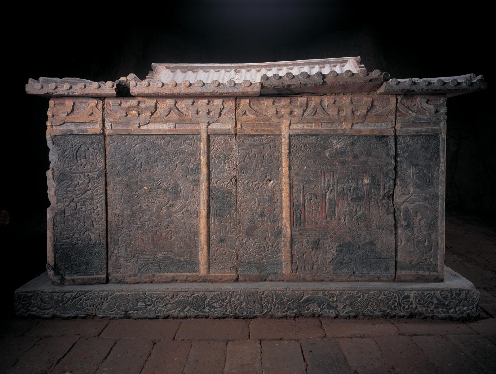 Back of sarcophagus with carved scenes of heaven