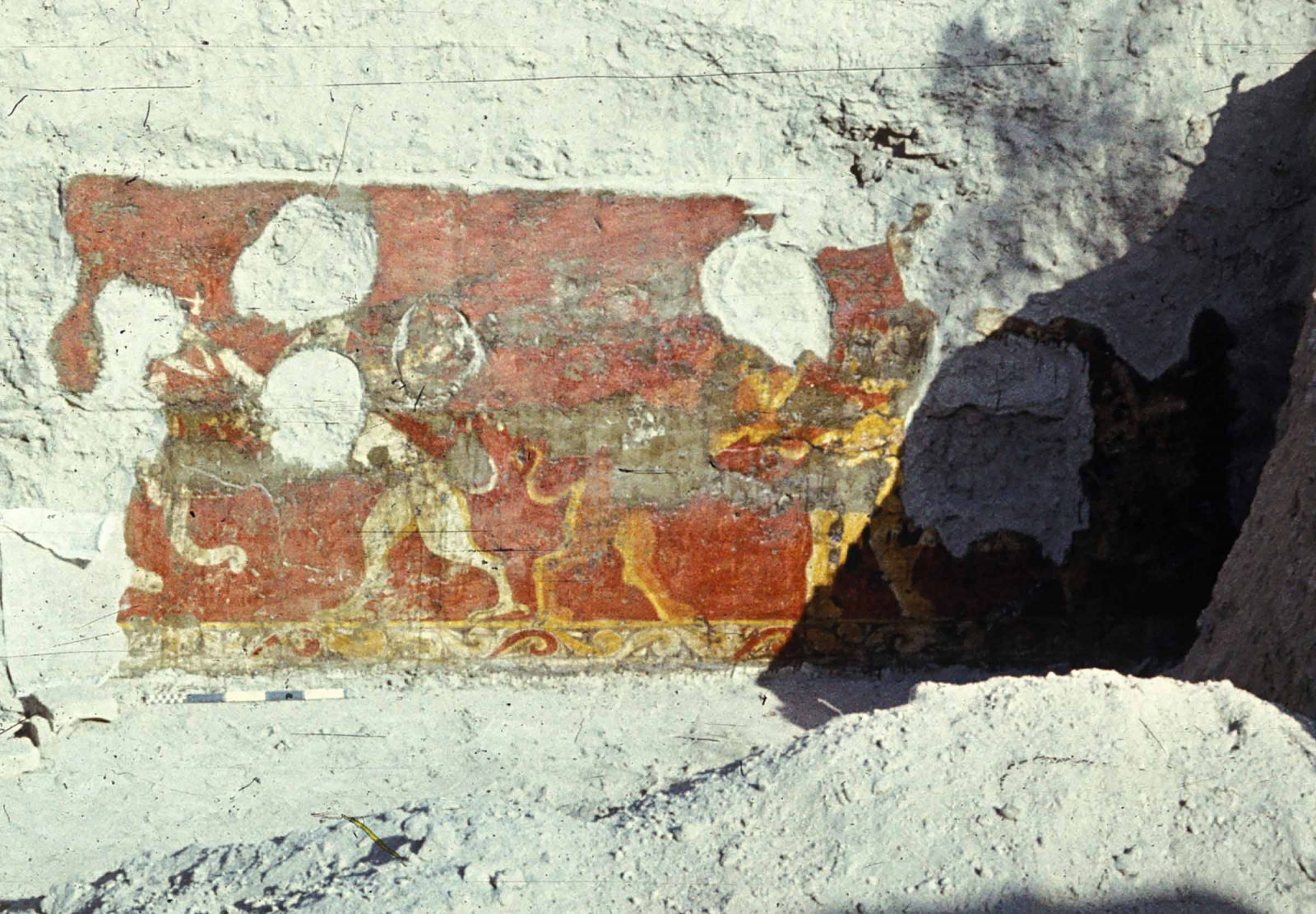 Wall painting found at the site of Varakhsha of a battle scene