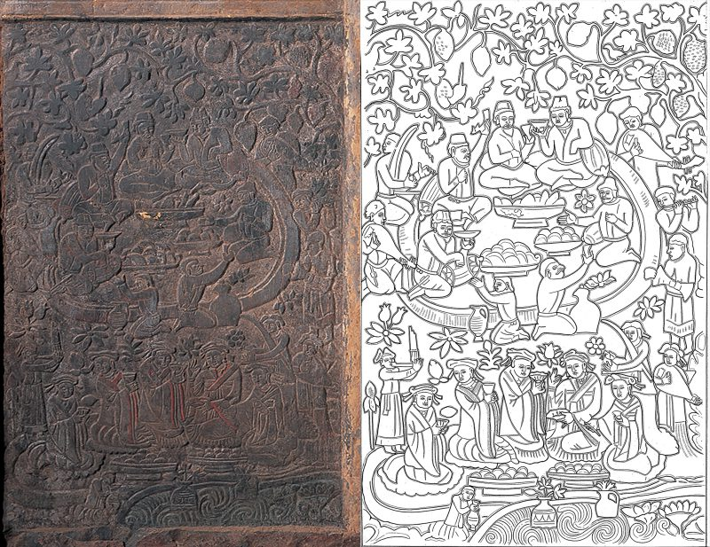 Carved panel and line drawing showing feast