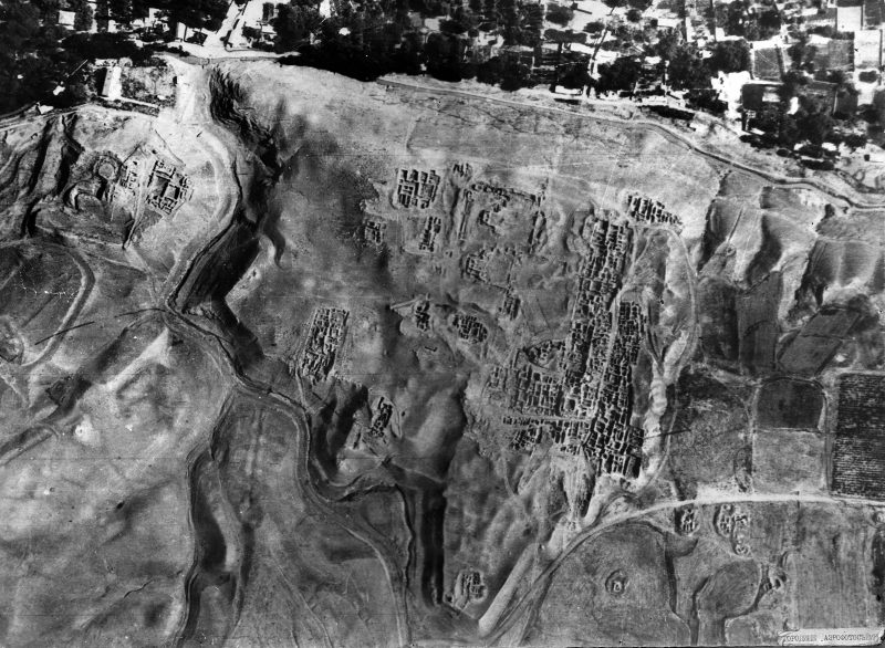 Panjikent from the sky showing the structures that have been excavated