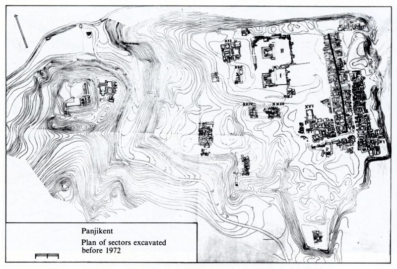 plans of the sectors excavated before 1972 in Panjikent.