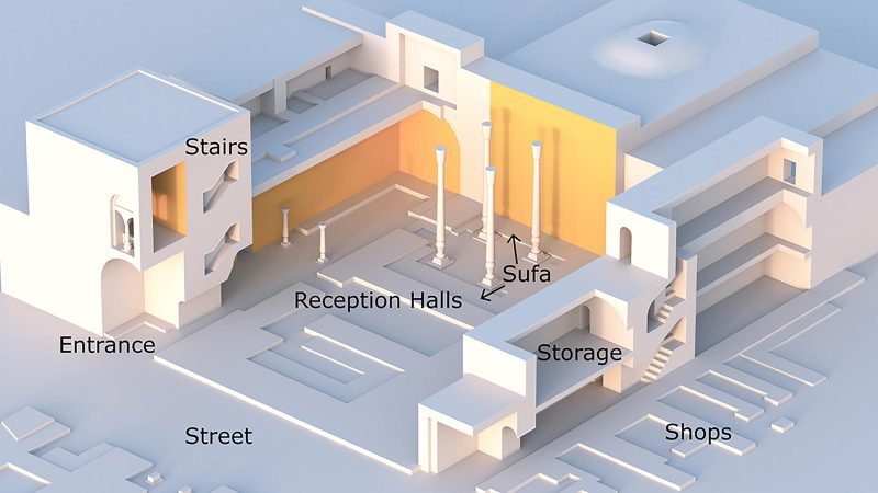 Diagram showing the different sections of a two-story Sogdian house with areas for shops, reception and storage