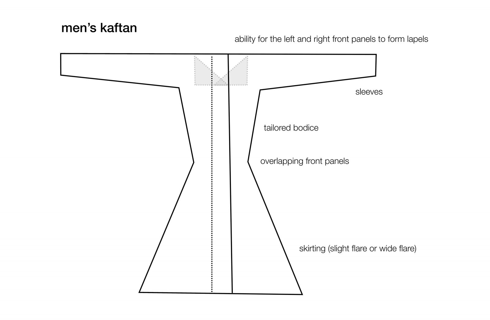 Basic pattern for a men's kaftan