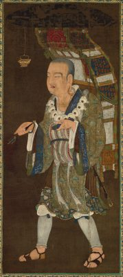 This painting depicts Chinese monk Xuanzang 玄奘, also called Tang Seng 唐僧, who gained fame for his quest to India to learn more about Buddhism.