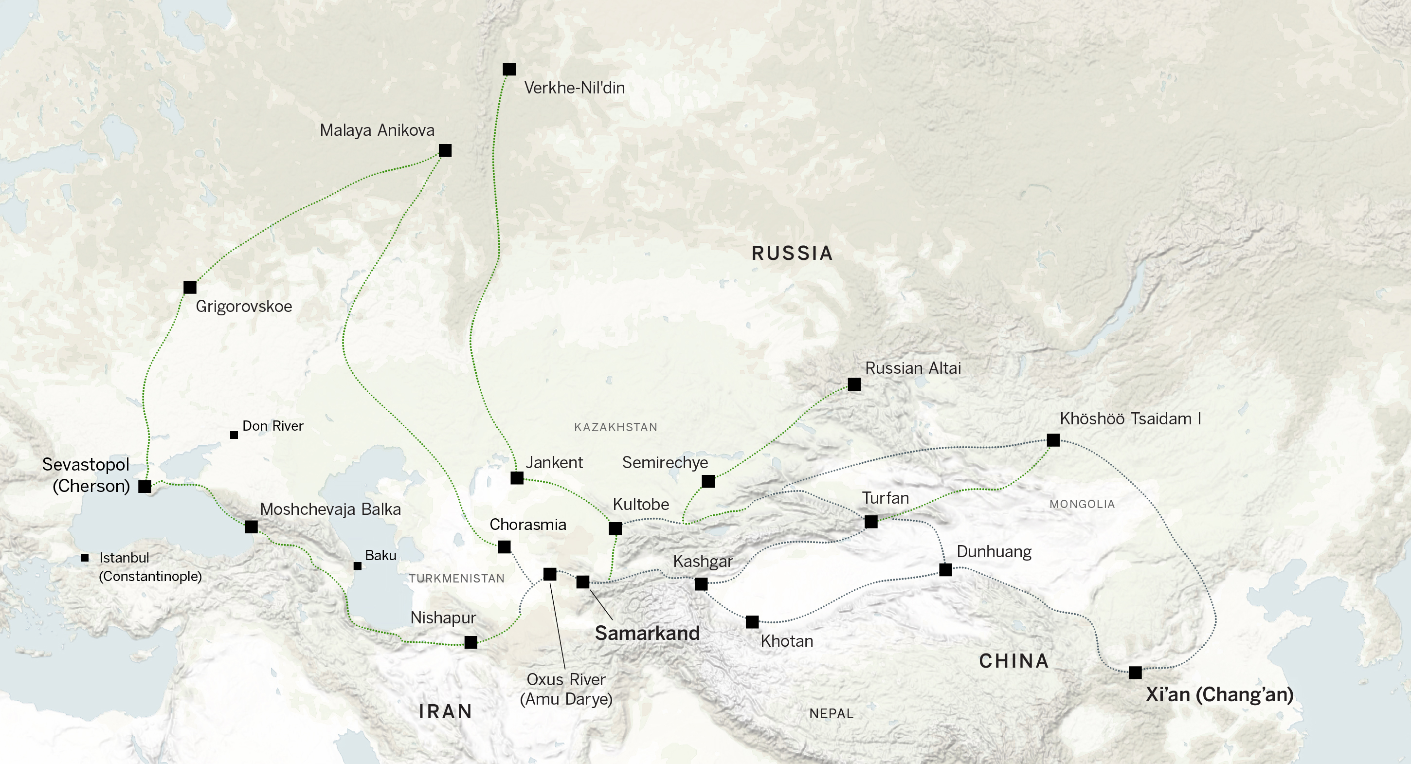 The Silk Road and Fur Routes running east to west and north to south.