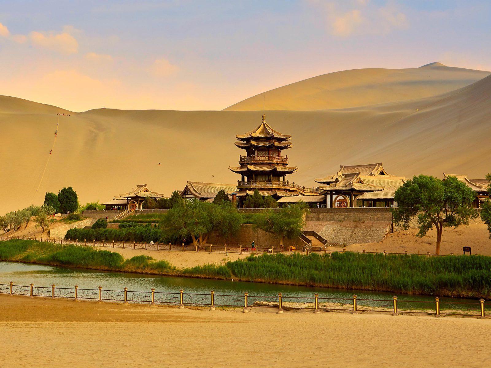 Dunhuang Crescent Moon Spring or Yueya Spring, Gansu Province, China. Photograph © iStock.com/rickwang.
