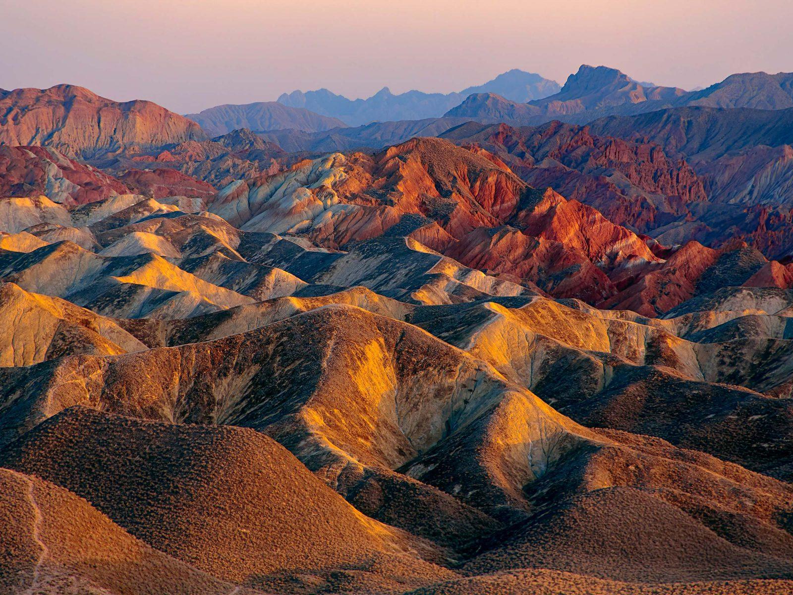 Zhangye Danxia landform in Gansu Province, China. Photograph © iStock.com/rickwang.