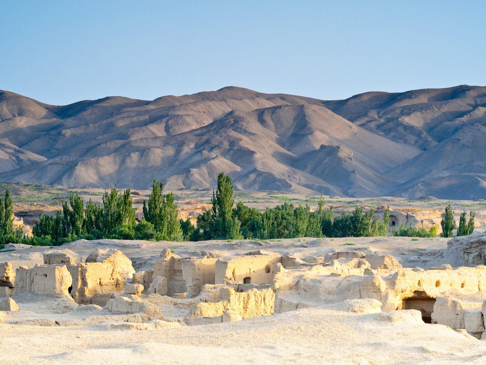 Ruins, desert, trees, and mountain. Photograph © iStock.com/dwatanabe.