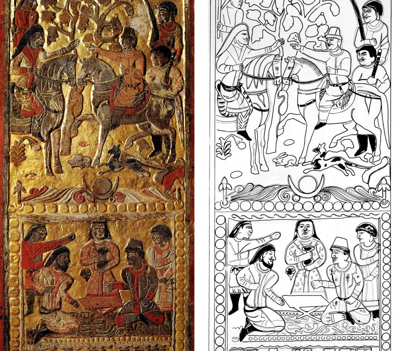 Detail from Funerary Bed of An Qie: Two Scenes of Diplomacy—An Qie with a Turk