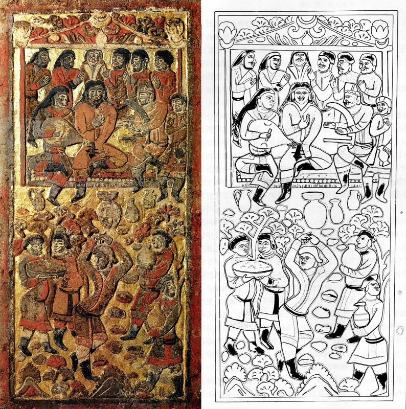 The funerary bed of An Qie has multiple festive scenes. This panel presents a dinner party with the guests watching a dance performance. The drawing to the right presents a tracing of the scene.