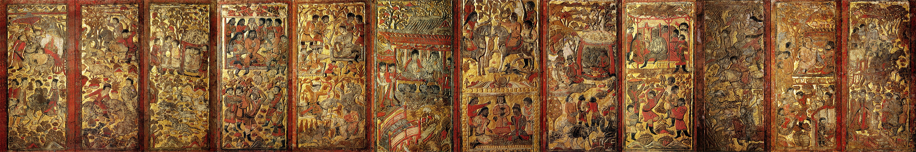 Overview of the scenes found on the funerary bed
