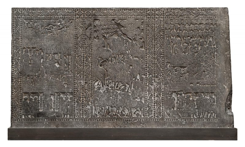 This incised panel from a funerary bed presents scenes of feasting and dancing.