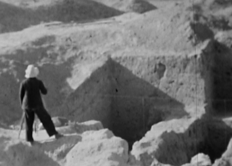 Historic footage of archeologists surveying Panjikent