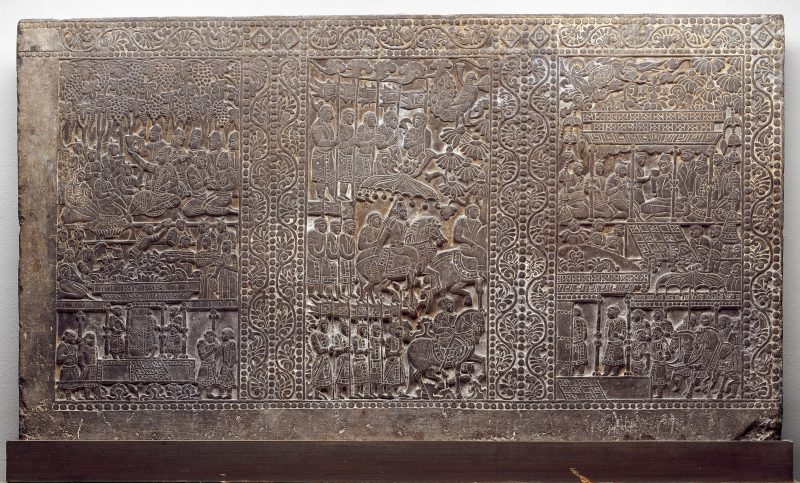 This incised panel, from a funerary bed, presents scenes of feasting and leisure activity.