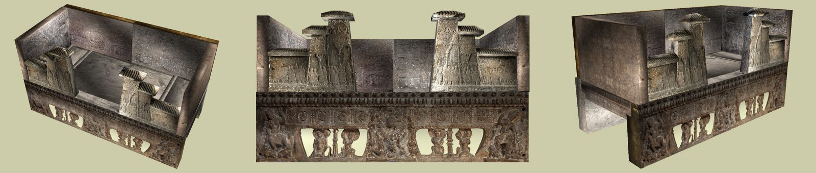 This reconstruction brings together the fragments of the Anyang funerary bed that are in collections across the world.