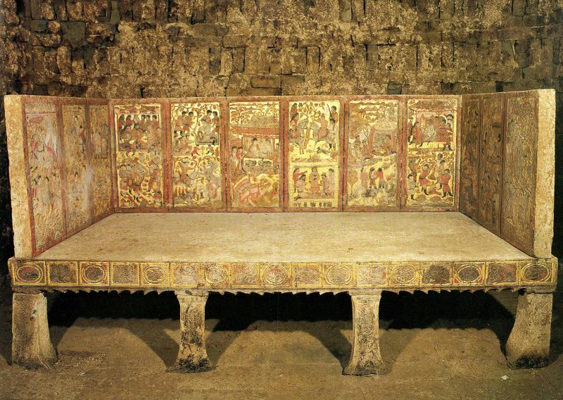 An Qie was an important Sogdian leader in China and commissioned this elaborate bed for his eventual dealt