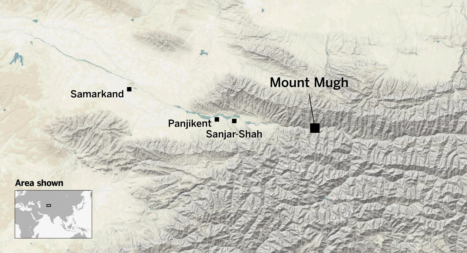 Mount Mugh is east of Samarkand and Panjikent