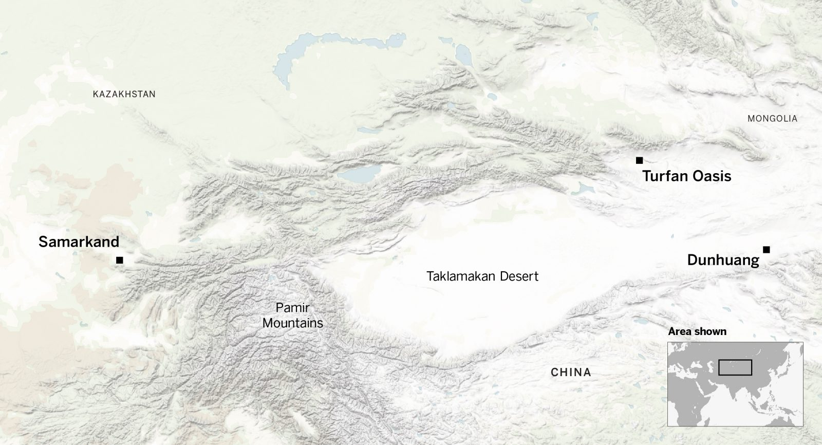 Tufan Oasis and Dunhuang are east of Samarkand
