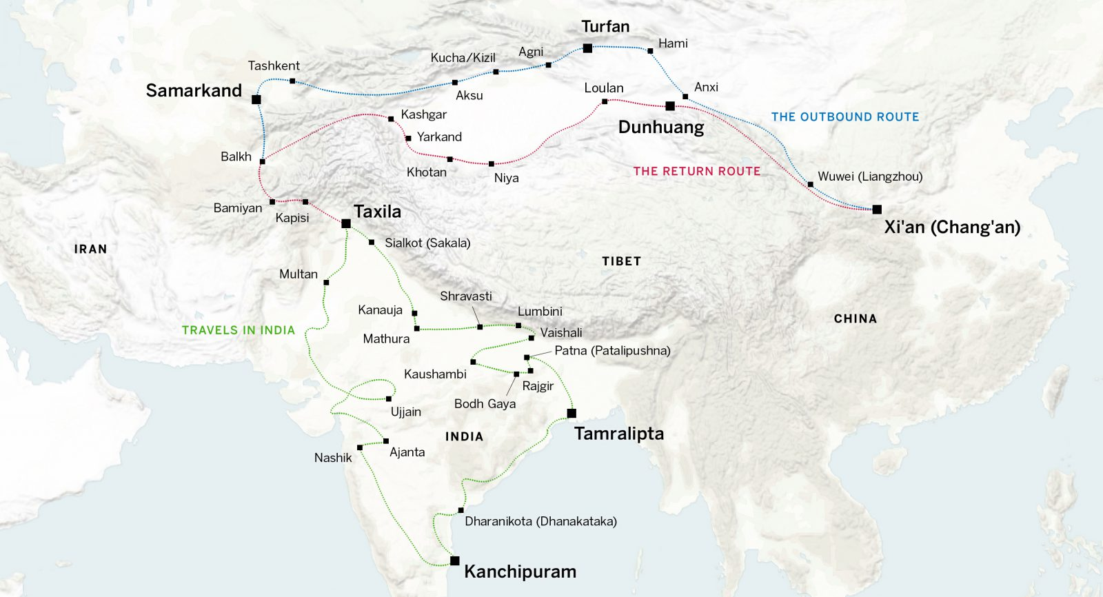 Xuanzang traveled from Xi'an to Samarkand to Souther India and back