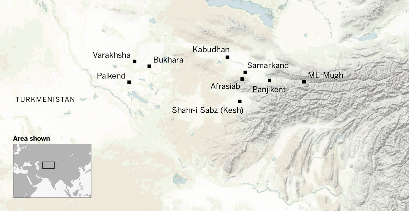This map shows major Sogdian cities, such as Varakhsha, Bukhara, Afrasiab, Samarkand, Panjikent and Mt Mugh.