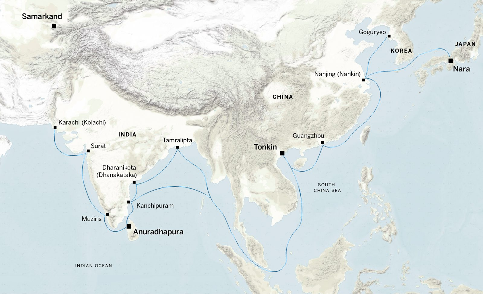 Sea routes connected Karachi in Pakistan to Nara in Japan