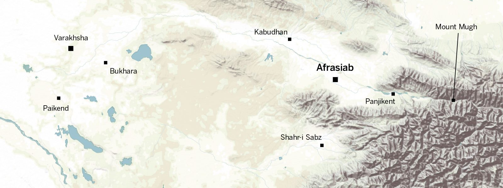 Map showing the location of Afrasiab