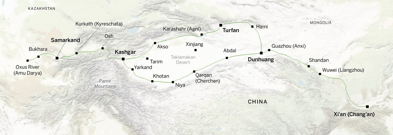 Many trade routes went around the Taklamakan Desert.